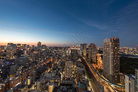 日本东京城市夜景日落图片