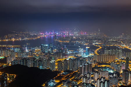 俯瞰香港城市夜景图片
