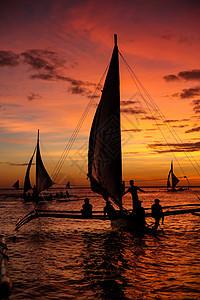 长滩帆船海上日落图片
