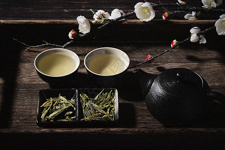龙井茶与梅花图片
