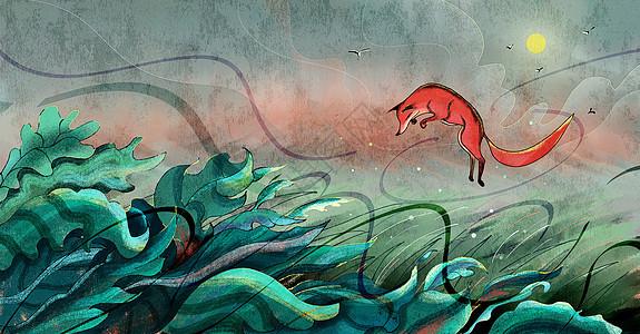 一只狐狸在盛夏的花丛里玩耍图片
