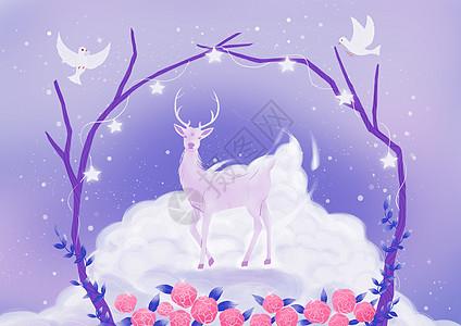 云端的水晶鹿图片
