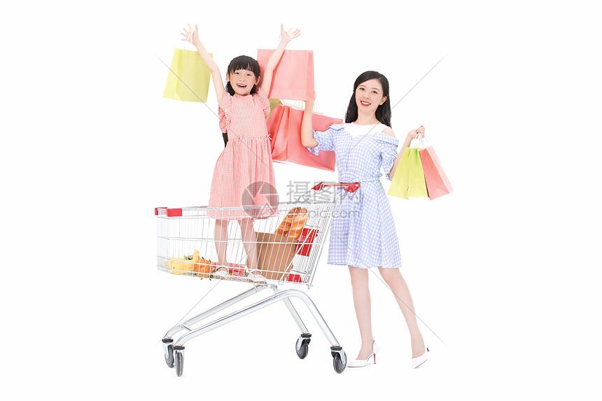 母女购物图片