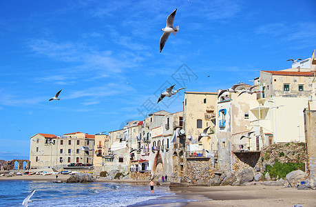意大利西西里岛切法卢沙滩图片