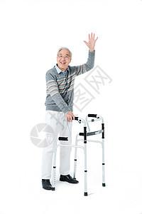 老年人挥手图片