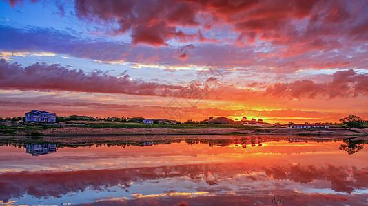 湖边日出图片