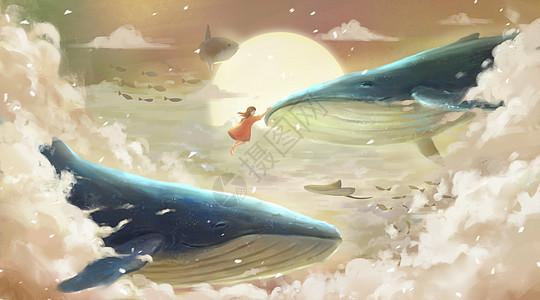 云层中的鲸鱼图片