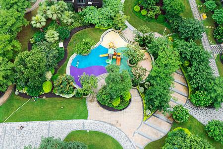 俯拍小区中庭花园图片