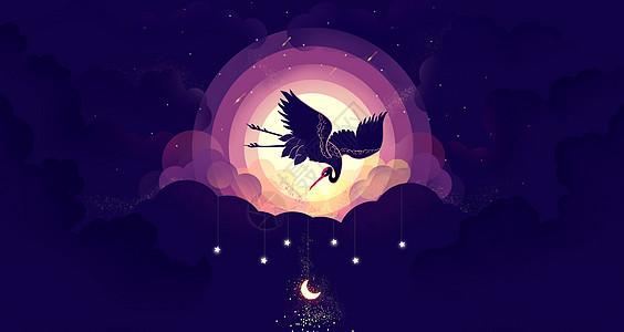 扁平中国风仙鹤望月图片