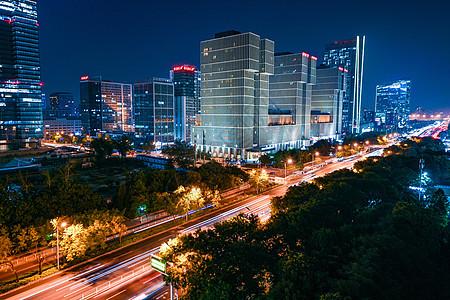 北京万达广场夜晚车轨图片