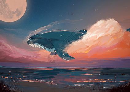 黄昏天空遨游的鲸图片