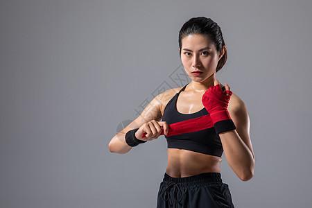 女性运动绑拳击带图片