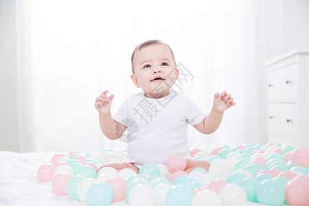 外国婴儿玩海洋球图片