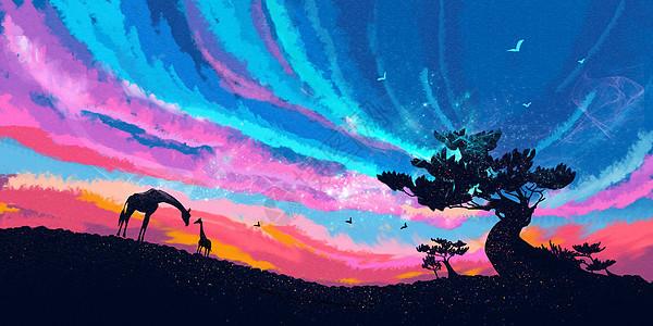 星空下两只长颈鹿和大树的治愈插画图片