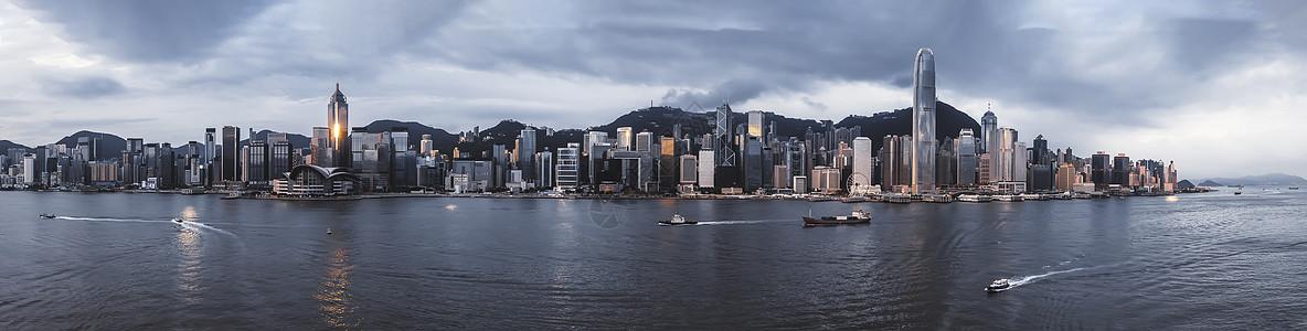 香港维多利亚港日出全景图片