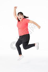 胖女孩跳跃图片