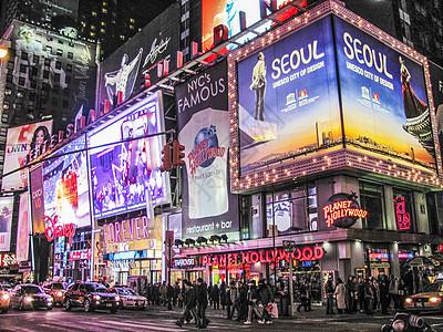 著名的纽约地标时报广场夜景图片