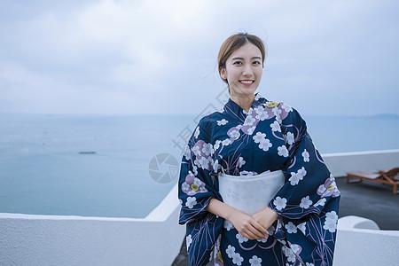 海边和服美女图片