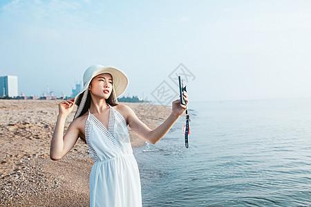 海边自拍人像图片