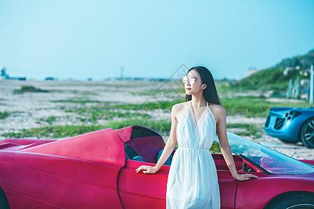 美女和跑车图片