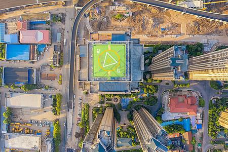 航拍商业写字楼楼顶直升机停机坪图片