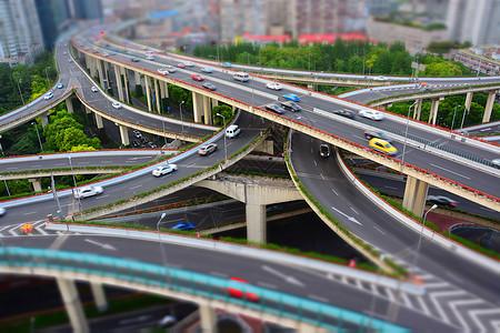 上海城市交通微缩景观移轴摄影图片