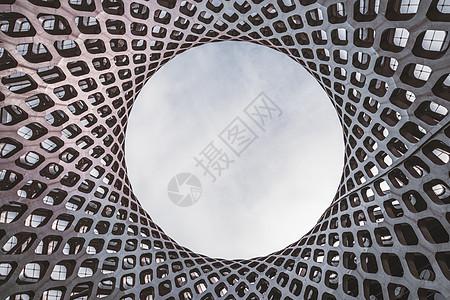 深圳湾体育公园金属雕塑特写图片