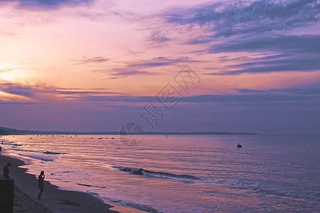 越南美奈海边日落图片