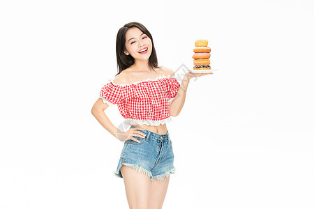 美女吃甜甜圈图片