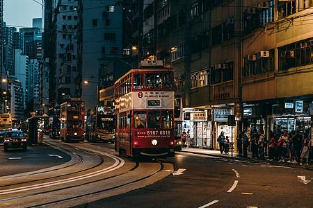 香港街头的叮叮车图片