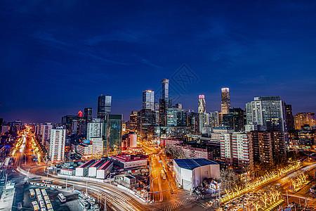 北京城市CBD夜晚全景图片