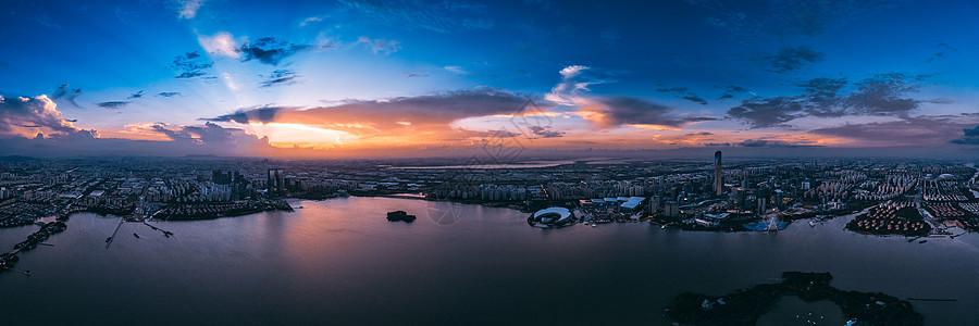 苏州火烧云金鸡湖全景图片
