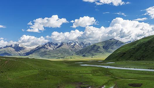 高山草原蓝天白云图片