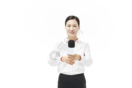 女记者采访形象图片