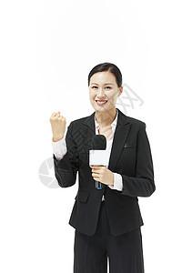 女记者加油形象图片