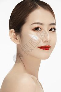女性美容化妆保养特写图片