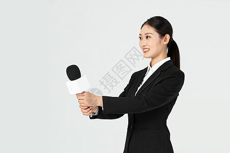 年轻美女记者采访工作图片
