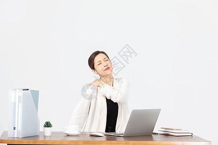 办公室疲劳商务女性图片