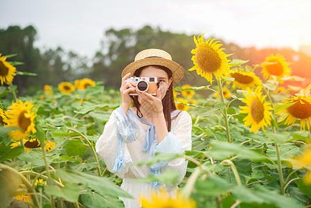 向日葵少女摄影图片
