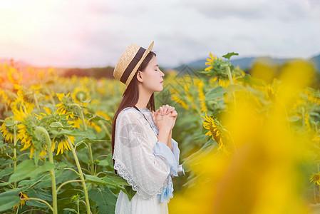 向日葵女孩祈祷图片