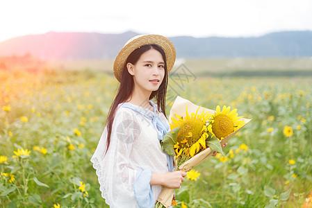 向日葵女孩图片