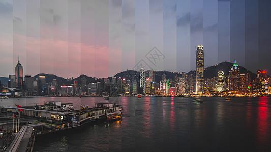 香港维多利亚港分时图片