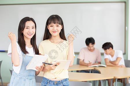 大学生上课加油手势图片