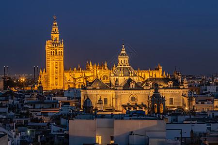西班牙塞维利亚城市夜景风光图片
