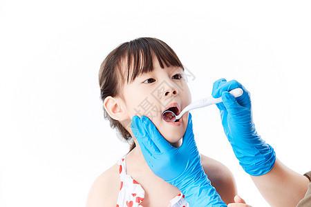 小女孩做口腔牙齿检查图片