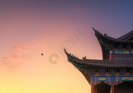 夕阳下的建筑美图片