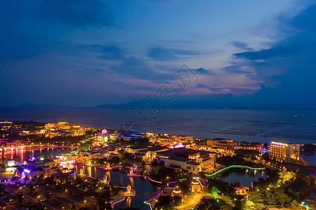 广东珠海海景酒店夕阳晚霞夜景图片