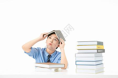 青少年学习劳累压力图片