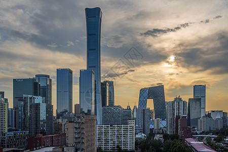 日落北京国贸大楼图片