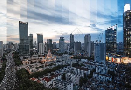 上海静安cbd分时摄影图片